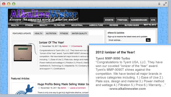 ionizer of the year award